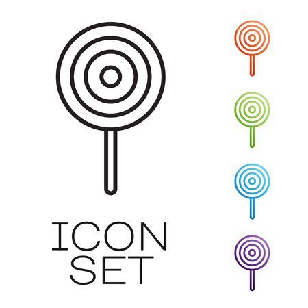 Black line Lollipop icon isolated on white background. Candy sign. Food, delicious symbol. Set icons colorful. Vector Ilustracja