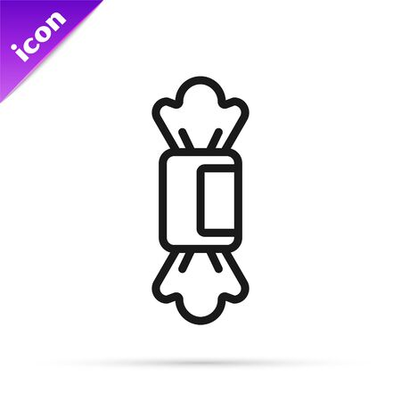 Black line Candy icon isolated on white background. Vector