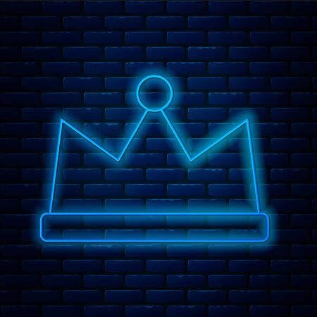 Glowing neon line Crown icon isolated on brick wall background. Vector