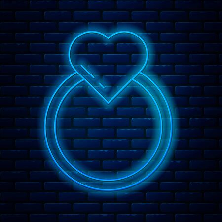 Glowing neon line Wedding rings icon isolated on brick wall background. Bride and groom jewelry sign. Marriage symbol. Diamond ring. Vector Illustration.
