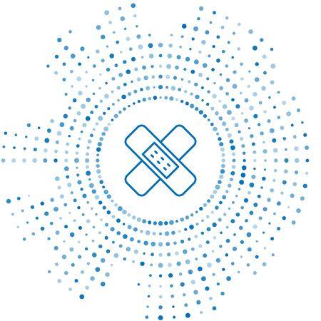 Blue line Crossed bandage plaster icon isolated on white background. Medical plaster, adhesive bandage, flexible fabric bandage. Abstract circle random dots. Vector Illustration.