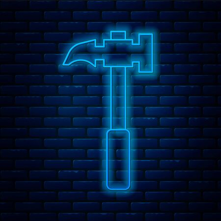 Glowing neon line Claw hammer icon isolated on brick wall background. Carpenter hammer. Tool for repair. Vector Illustration.