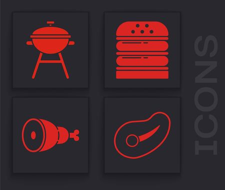 Set Steak meat, Barbecue grill, Burger and Chicken leg icon. Vector  イラスト・ベクター素材