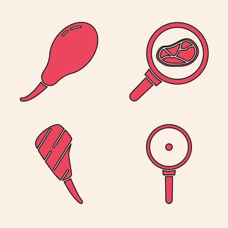 Set Frying pan, Chicken leg, Steak meat in frying pan and Rib eye steak icon. Vector.
