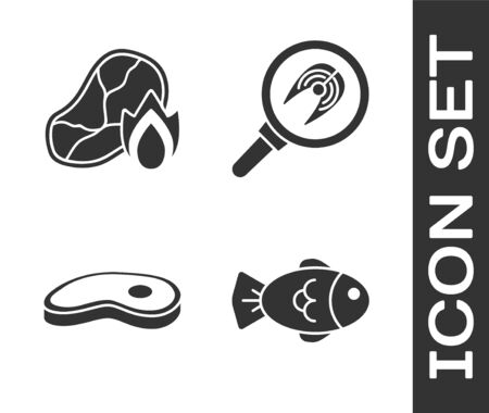 Set Fish, Grilled steak meat and fire flame, Steak meat and Fish steak in frying pan icon. Vector.
