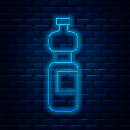 Glowing neon line Bottle of water icon isolated on brick wall background. Soda aqua drink sign. Vector Illustration.