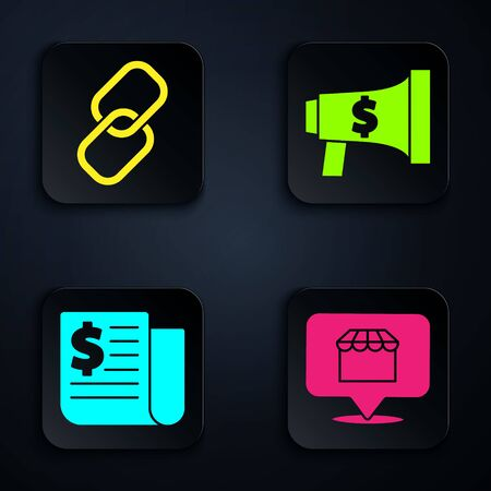 Set Online shopping concept, Chain link, Financial news and Megaphone and dollar. Black square button. Vector. Çizim