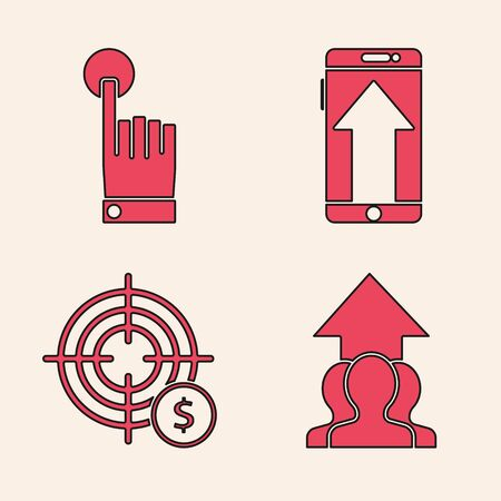 Set Growth chart and progress in people crowd, Hand touch and tap gesture, Smartphone, mobile phone and Target with dollar symbol icon. Vector Çizim