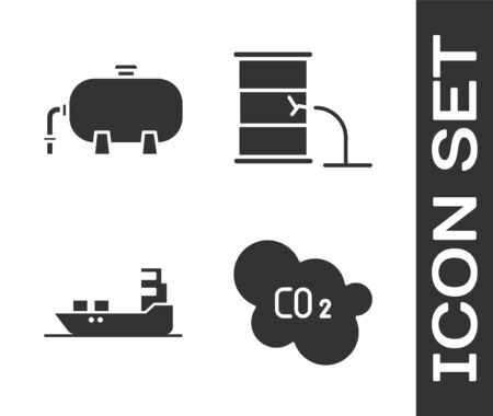 Set CO2 emissions in cloud, Oil industrial factory building, Oil tanker ship and Barrel oil leak icon. Vector