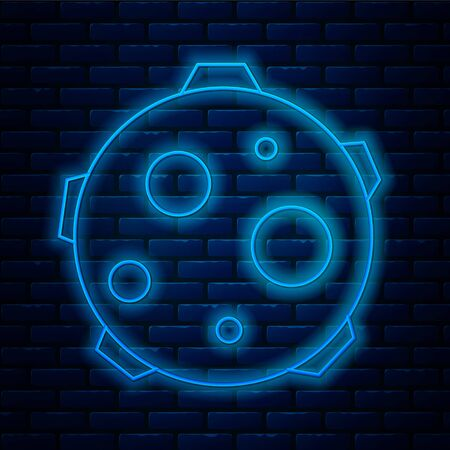 Glowing neon line UFO abducts cow icon isolated on brick wall background. Flying saucer. Alien space ship. Futuristic unknown flying object. Vector Illustration.
