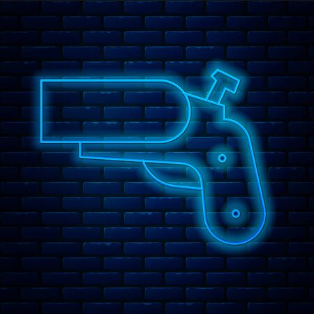 Glowing neon line Flare gun pistol signal sos icon isolated on brick wall background. Emergency fire shoot target smoke. Orange 911 launcher. Vector Illustration.