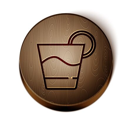 Brown line Cocktail icon isolated on white background. Wooden circle button. Vector.