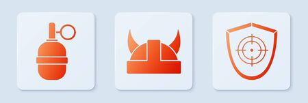 Set Viking in horned helmet, Hand grenade and Target sport. White square button. Vector.