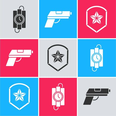 Set dynamite stick and timer clock, Pistol or gun and Police badge icon. Vector.