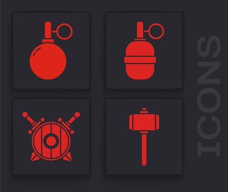 Set Battle hammer, Hand grenade, Hand grenade and Wooden shield with crossed swords icon. Vector. 일러스트