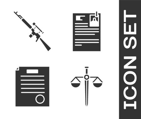 Set Scales of justice, Sniper rifle with scope, The arrest warrant and Lawsuit paper icon. Vector.