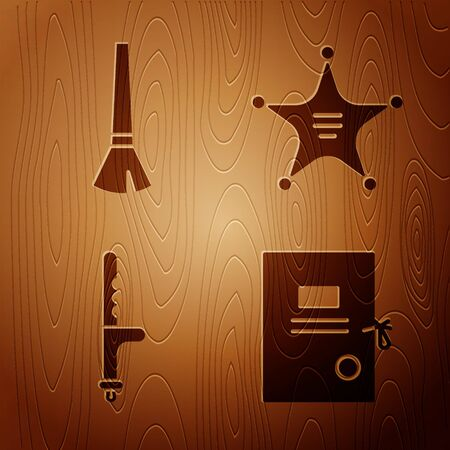 Set Lawsuit paper, Paint brush, Police rubber baton and Hexagram sheriff on wooden background. Vector.