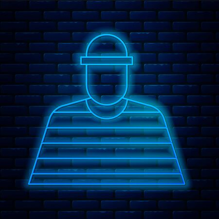 Glowing neon line Prisoner icon isolated on brick wall background.  Vector Illustration.
