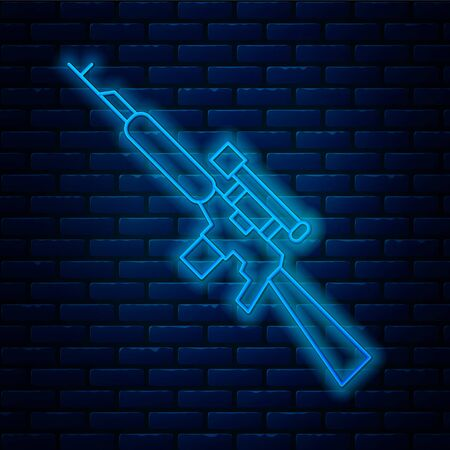 Glowing neon line Sniper rifle with scope icon isolated on brick wall background.  Vector Illustration.