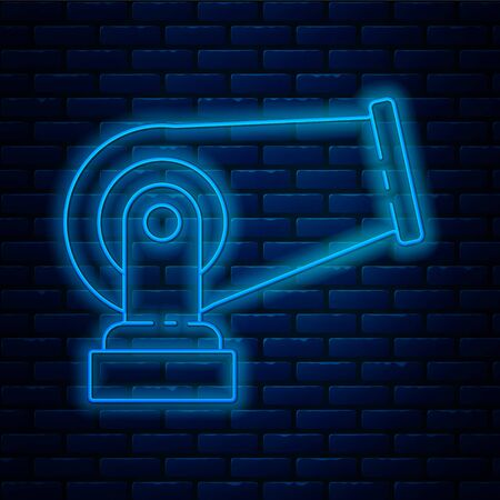 Glowing neon line Cannon icon isolated on brick wall background. Vector Illustration.