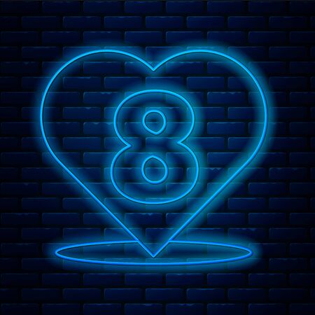 Glowing neon line Heart with 8 March icon isolated on brick wall background. Romantic symbol linked, join, passion and wedding. Happy Women Day. Vector Illustration. Ilustração