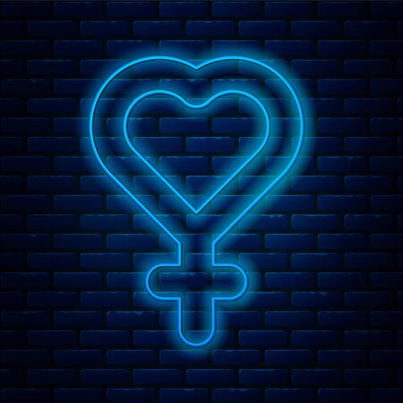 Glowing neon line Female gender symbol icon isolated on brick wall background. Venus symbol. The symbol for a female organism or woman. Vector Illustration. Ilustração