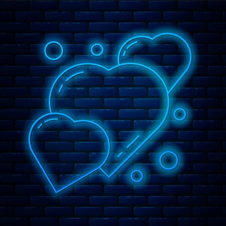Glowing neon line Heart icon isolated on brick wall background. Romantic symbol linked, join, passion and wedding. 8 March. Happy Women Day. Vector Illustration.