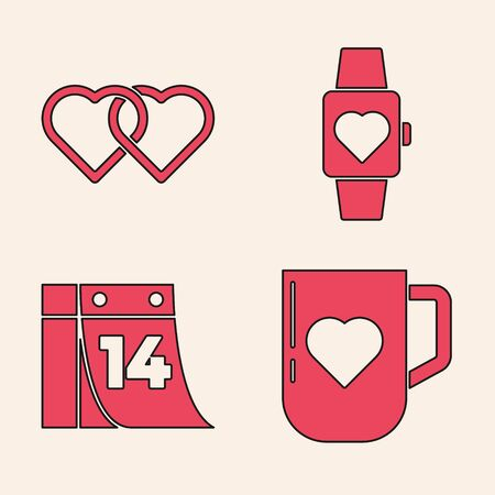 Set Coffee cup and heart, Two Linked Hearts, Heart in the center wrist watch and Calendar with February 14 icon. Vector.
