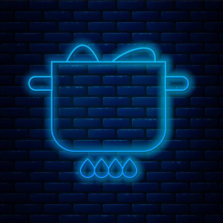 Glowing neon line Egg in hot pot icon isolated on brick wall background. Boiled egg. Happy Easter. Vector Illustration.