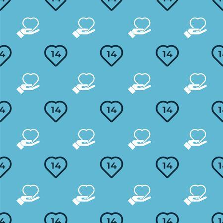 Set Heart and Heart on hand on seamless pattern. Vector. Ilustração