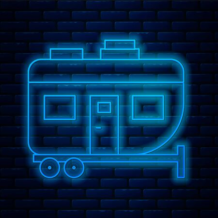 Glowing neon line Rv Camping trailer icon isolated on brick wall background. Travel mobile home, caravan, home camper for travel.  Vector Illustration. Illustration