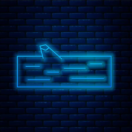 Glowing neon line Wooden log icon isolated on brick wall background.  Vector Illustration.