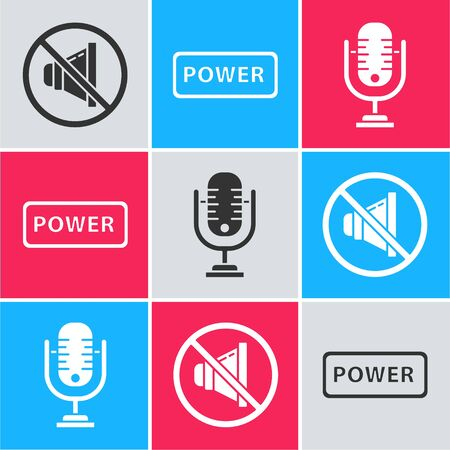 Set Speaker mute, Power button and Microphone icon. Vector. Çizim