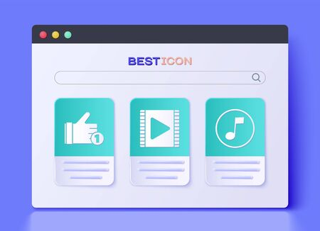 Set Play Video, Hand like and Music note, tone icon. Vector. Illustration