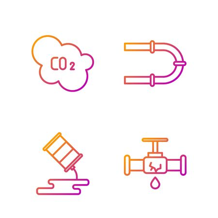 Set line Broken pipe with leaking water, Barrel oil leak, CO2 emissions in cloud and Industry pipe. Gradient color icons. Vector. Ilustração
