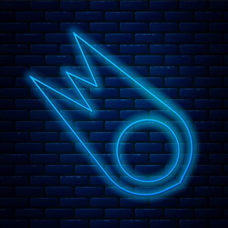 Glowing neon line Comet falling down fast icon isolated on brick wall background. Vector Illustration.