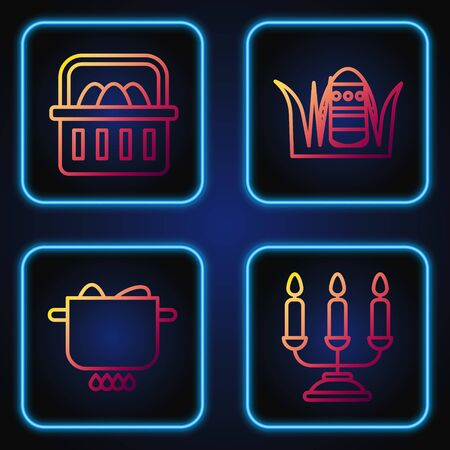 Set line Candelabrum with candlesticks, Egg in hot pot, Basket with easter eggs and Easter egg. Gradient color icons. Vector