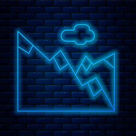 Glowing neon line Mountains icon isolated on brick wall background. Symbol of victory or success concept. Vector Illustration. Ilustração