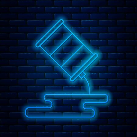 Glowing neon line Barrel oil leak icon isolated on brick wall background. Vector Illustration
