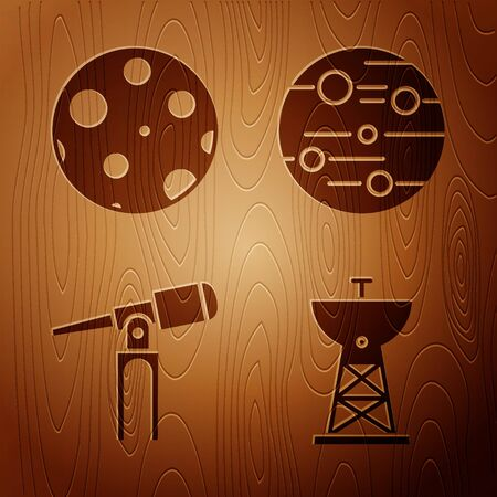 Set Satellite dish, Moon, Telescope and Planet Mars on wooden background. Vector