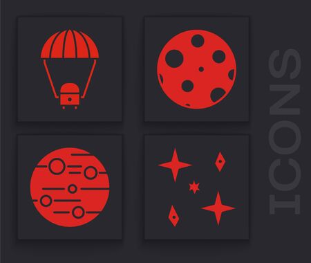 Set Falling stars, Space capsule and parachute, Moon and Planet Mars icon. Vector