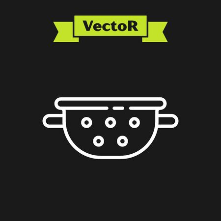 White line Kitchen colander icon isolated on black background. Cooking utensil. Cutlery sign. Vector.
