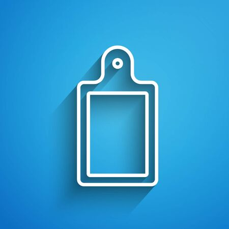White line Cutting board icon isolated on blue background. Chopping Board symbol. Long shadow. Vector.