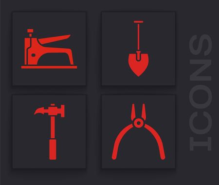 Set Pliers tool, Construction stapler, Shovel and Claw hammer icon. Vector.