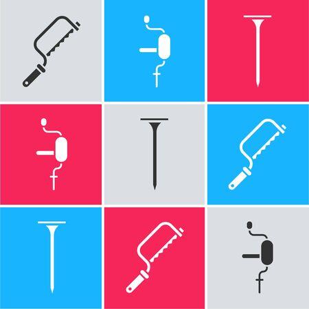 Set Hacksaw, Hand drill and Metallic nail icon. Vector