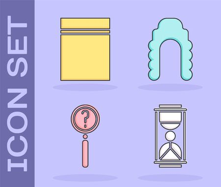 Set Old hourglass with sand, Plastic bag with ziplock, Magnifying glass with search and Judge wig icon. Vector.
