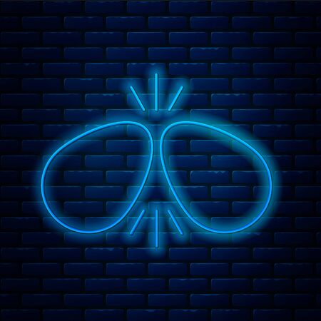 Glowing neon line Easter eggs icon isolated on brick wall background. Two eggs cracking each other. Happy Easter. Vector Illustration.