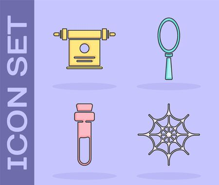 Set Spider web, Magic scroll, Bottle with love potion and Magic hand mirror icon. Vector.