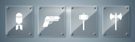 Set Medieval axe, Battle hammer, Pistol or gun and Aviation bomb. Square glass panels. Vector