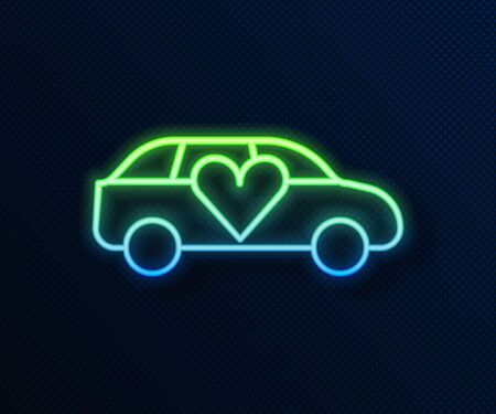 Glowing neon line Luxury limousine car icon isolated on blue background. For world premiere celebrities and guests poster. Vector. Ilustrace